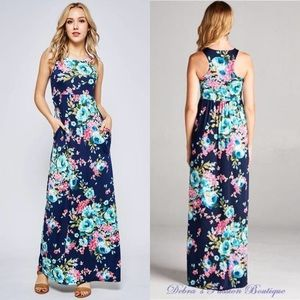 Maxi Dresses Floral Racerback Sleeveless Pocket